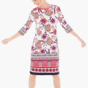 Chicos floral border print jersey tunic dress 0 S
